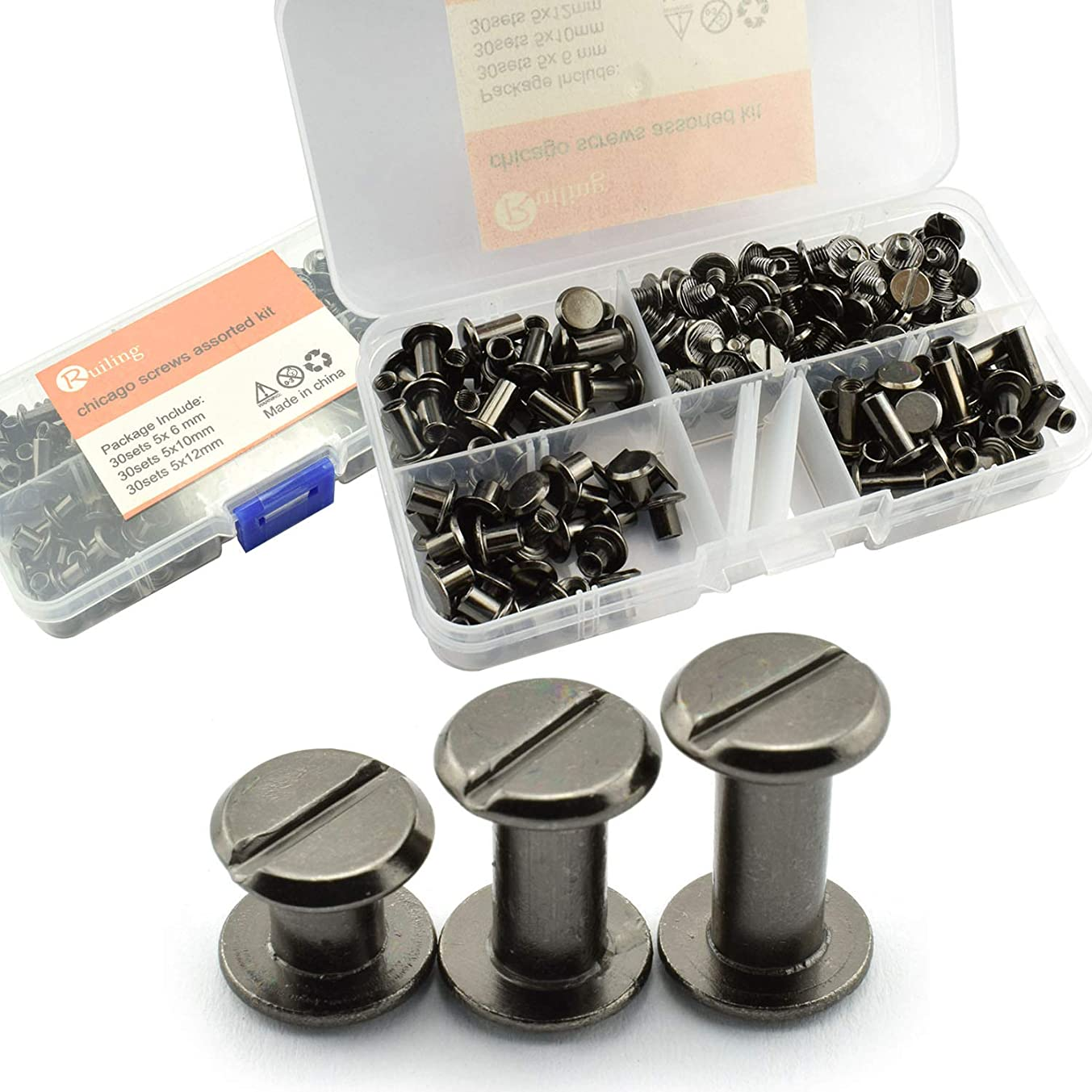 RuiLing 90 Sets Black Chicago Screws Assorted Kit Screw Posts Metal Accessories Nail Rivet Chicago Button for DIY Leather Decoration Bookbinding Slotted Flat Head Stud Screw 5x6/10/12mm