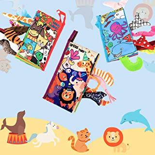 Here Fashion Pack of 3 Soft Animal Tails Cloth Books for Babies - Colorful Animals Stereoscopic Tails Cloth Books for Baby's Early Learning Education Book ( Pet's, Circus & Ocean Tail )