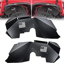 OPALL Fit Jeep Wrangler Front Inner Fender Liners for 2007-2018 2 Door & 4 Door Jeep Wrangler JK 4WD US Flag Logo Lightweight Aluminum Design Black