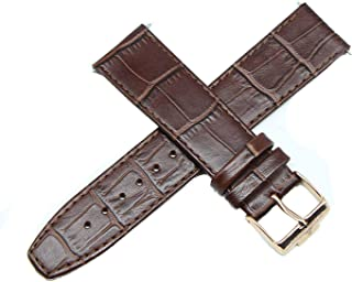"""Jacques Lemans 22MM Alligator Grain Genuine Leather Watch Strap 8"""" Brown with Gold JL Initial Buckle"""