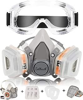 Respirador Coffly™ Máscara de Gas Reutilizable con Gafas de Seguridad Protección Respiratoria Semimáscara con Doble Filtro para Pintura, Polvo, Productos Químicos, Lijado a Máquina, Formaldehído
