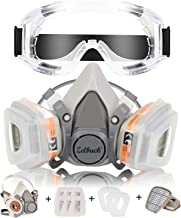 Respirator Mask Zelbuck Half Facepiece Gas Mask with Safety Glasses Reusable Professional Breathing Protection Against Dust, Organic Vapors, Pollen and Chemicals - Perfect for Painter and DIY Projects