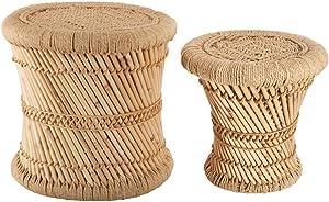 Atmosphera Lot de 2 Tables Basses gigognes en Corde et Bambou - Style Nomade - Coloris Bois