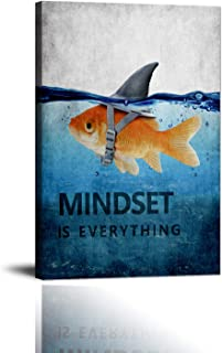 "Goldfish Shark Canvas Wall Art Inspirational Entrepreneur Quotes Poster Mindset is Everything Motivational Painting Picture Print Artwork for Living room Bedroom Office Home Decor Framed (12""Wx18""H)"