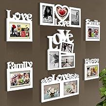 GJNVBDZSF Conjunto de molduras para fotos, decoração de parede, quadro de parede, conjunto de galeria de madeira, branco, ...