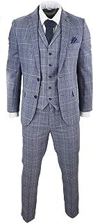 HARRY BROWN Mens Grey Blue Prince of Wales Check Suit 3 Piece 1920s Tweed Peaky Blinders Slim Fit
