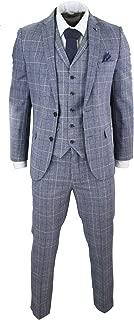 HARRY BROWN Mens Grey Blue Prince of Wales Check Suit 3 Piece 1920s Tweed Peaky Blinders Slim Fit Grey-Blue