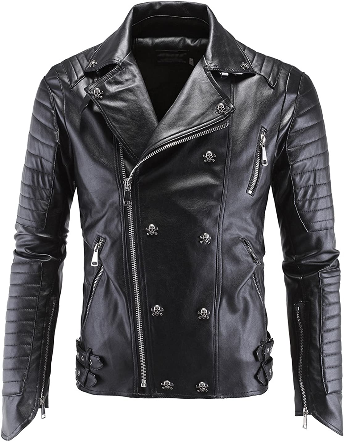 Detroit Mall Tanming Manufacturer OFFicial shop Men's Classic Skull Studded Jacket Faux Moto Leather