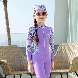 طفل فتى بنت ثوب سباحة طويل كم سروال تجف سريع واقي من الشمس قنديل البحر بدلة غوص 5XL 紫色