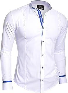 D&R Fashion Stylish Shirt with Grandad Collar Contrast Stitching Navy Royal Blue White Slim