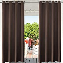 PRAVIVE Patio Blackout Outdoor Curtains - Heavy-Duty Eyelet Top Thermal Insulated Outdoor Drape Panels for Front Porch Decor/Gazebo Shade/Pergola Privacy, 52