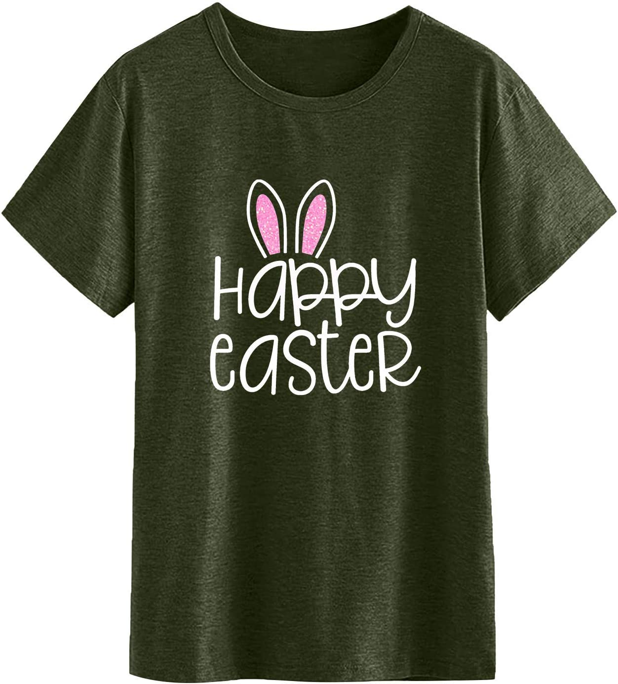 Shan-S Happy Easter San Antonio Mall Letter Print T Casual Award-winning store Soft Shirt for Women's