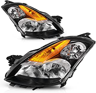 For 2007-2009 Nissan Altima 4-Door Sedan Headlights Replacement Black Housing with Amber Reflector Clear Lens (Driver and Passenger Side)