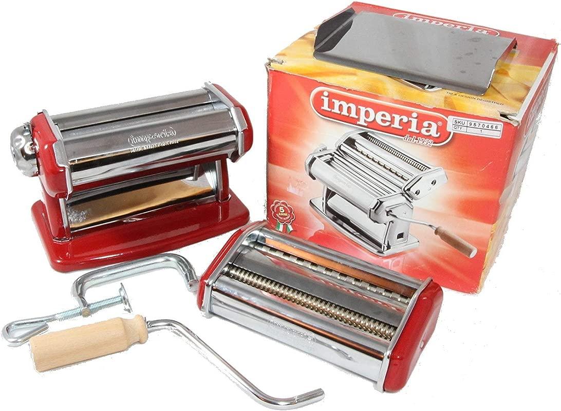 Imperia Pasta Machine With Fettuccine Linguine Attachment Red