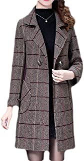 Macondoo Womens Winter Checkered Wool-Blend Overcoat Double-Breasted Outwear Pea Coat