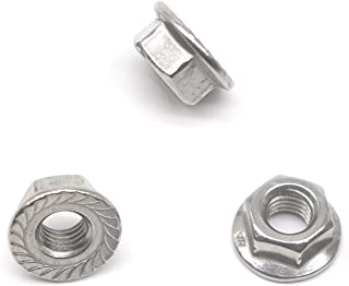 binifiMux 60pcs 8-32 304 Stainless Steel Serrated Hex Flange Nuts Silver Tone A2-70