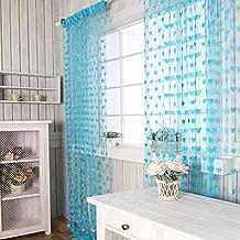 Pindia Beautiful Heart String Thread Mordern 2 Piece Polyester Window Door Home Decor Curtain - 6ft, Aqua
