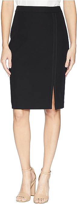 Long Pencil Skirt w/ Tonal Detail