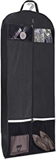 """KIMBORA 54"""" Trifold Dress Garment Bags for Travel Gusseted Suit Cover with 2 Large Mesh Shoe Pockets (Black)"""