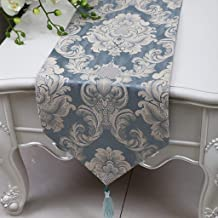 Royare Elegant Design Blue Gray Flower Pattern Cloth Table Runner Modern Simple Fashion Upscale Living Room Kitchen Restau...