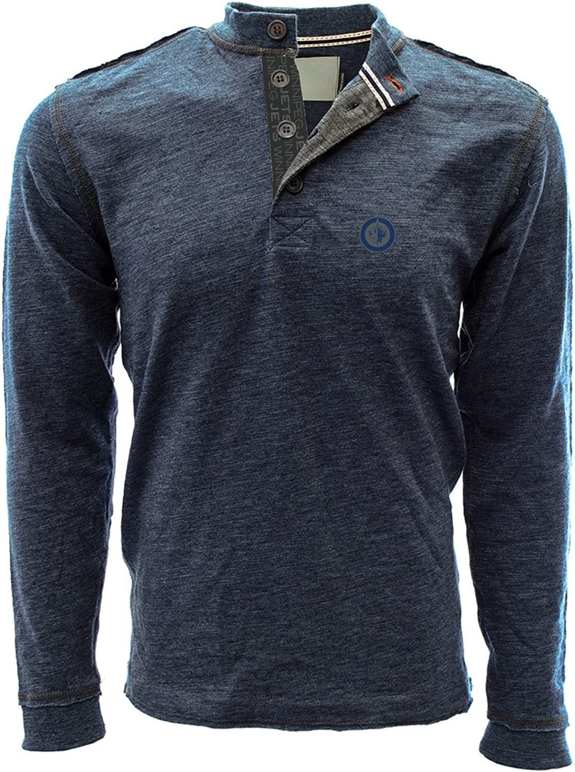 Levelwear LEY9R Men's Crush Shadow Text Henley Heather Navy, Medium