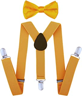 StyleZ Kid's Clip-on Suspenders and Bow Tie Set Boy Bowtie Halloween Christmas Birthday Party Costume