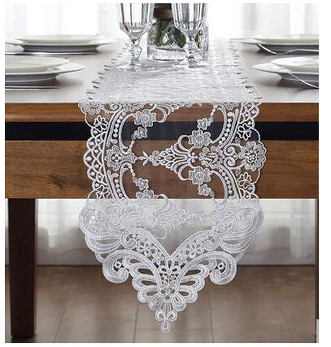 WSHINE Lace Table Runner And Dresser Scarf Embroidered Flower Tablecloth Party Home Decor Supplies (white, 10.2
