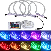 Besde Car Accessories 4 pcs Angel Eyes Halo Ring LED Lighting Kit, Multi-Color Adaptive Xenon HID Headlight, Fog Housing Lamp Compatible with BMW E36 E46 M3 Series (Multicolor)