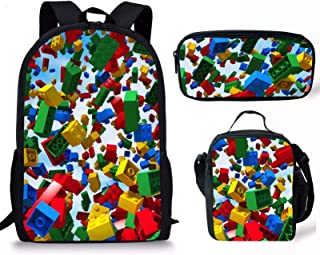 Micandle Building Block Animal School Backpack Lunch Bag Pencil case Set with Padded Straps 3D Cartoon Student Stylish Unisex Daypack for Boys Girls School Book Bags