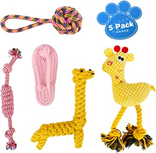oneisall Dog Toys for Small Dogs 5 Pack - Puppy Chew Toys for Boredom Pet Rope Squeaky Teething Toy for Puppies - for Small & Medium Dogs(NOT for Large Dogs and Aggressive Chewer)