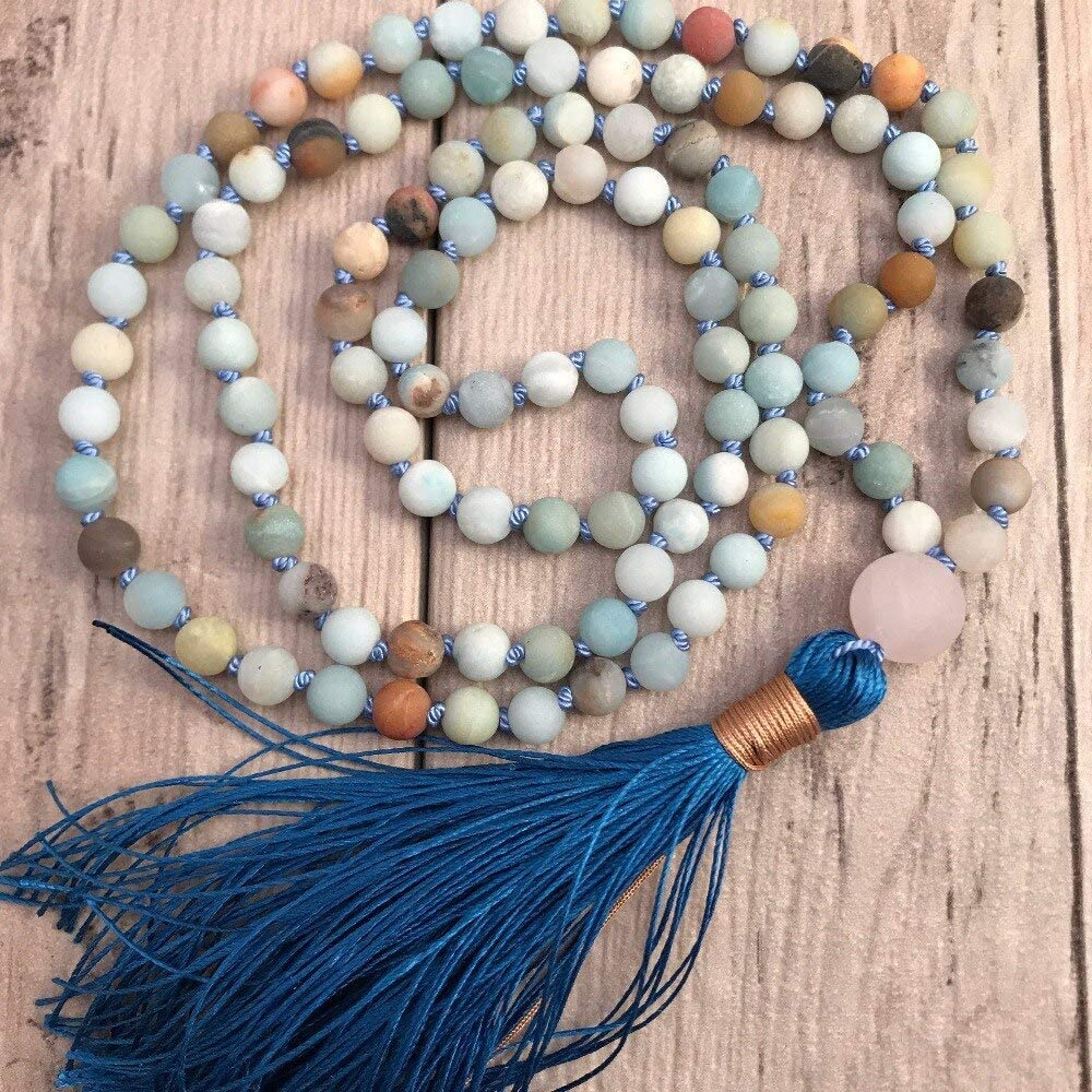 PHUONGDTB8888-108 Mala National products Bead 1 year warranty Knotted Necklace Amazonite