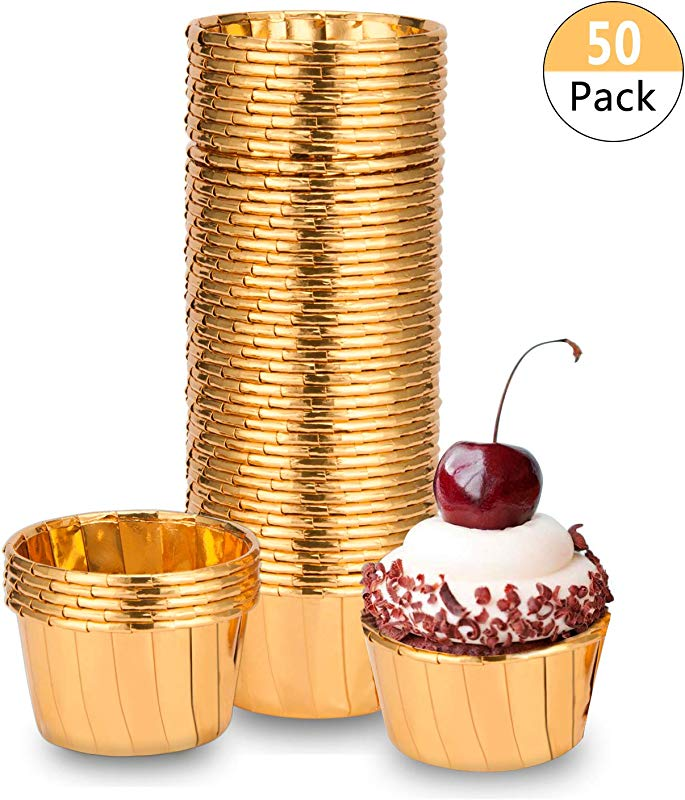 BTSD Home Gold Foil Metallic Paper Baking Cups Muffin Cups Cupcake Liners 50 Count Cake Baking Cups For Wedding Party Birthday Decorations Baby Shower Graduation Events Gold