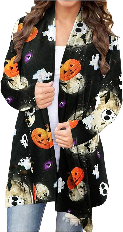 Eoailr Women's Cat and Pumpkin Cardigan Long Sleeve Autumn Coat Blouse Funny Bat Pumpkin Print Outwear Kimono