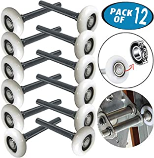 Durable 2 Inches Nylon Garage Door Rollers 6200ZZ Sealed Bearing 4 Inches Stem (Set of 12)