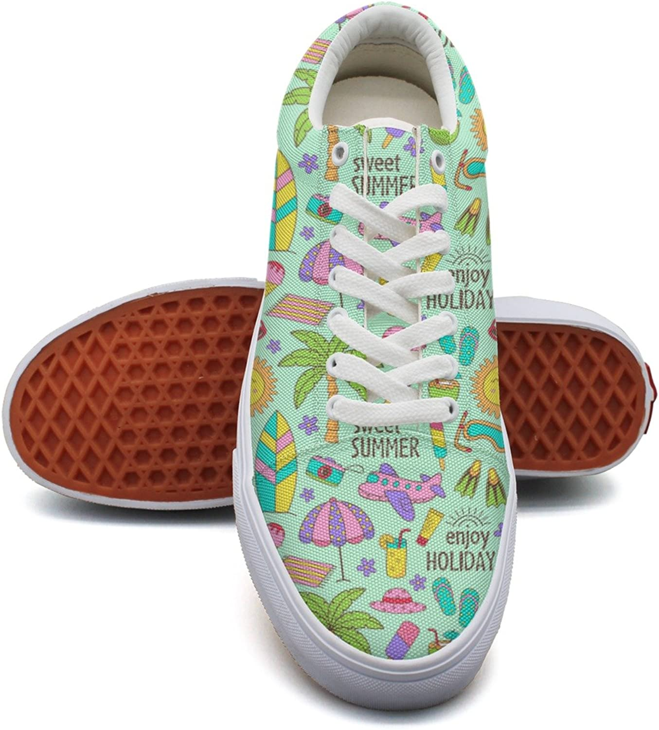 Feenfling Sweet Summer Go to The Beach Womens Navy Canvas Boat shoes Low Top Neon Tennis shoes for Women's