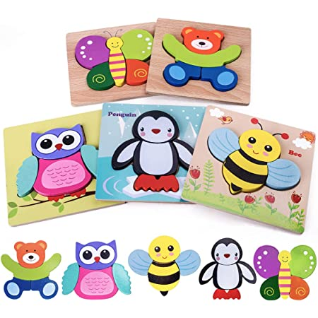 Highttoy Wooden Puzzles for 1 2 3 Year Olds,5 Pcs Jigsaw Puzzles for Toddlers Animal Shape Blocks Chunky Puzzles Montessori Wooden Toys for Age 1-3 Early Eduactional Puzzle Toy Game for Boys Girls