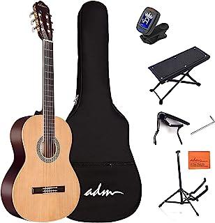 گیتار کلاسیک نایلون با اندازه کامل ADM با گیگ بگ ، تیونر و غیره ، کیت دانش آموزان مبتدی