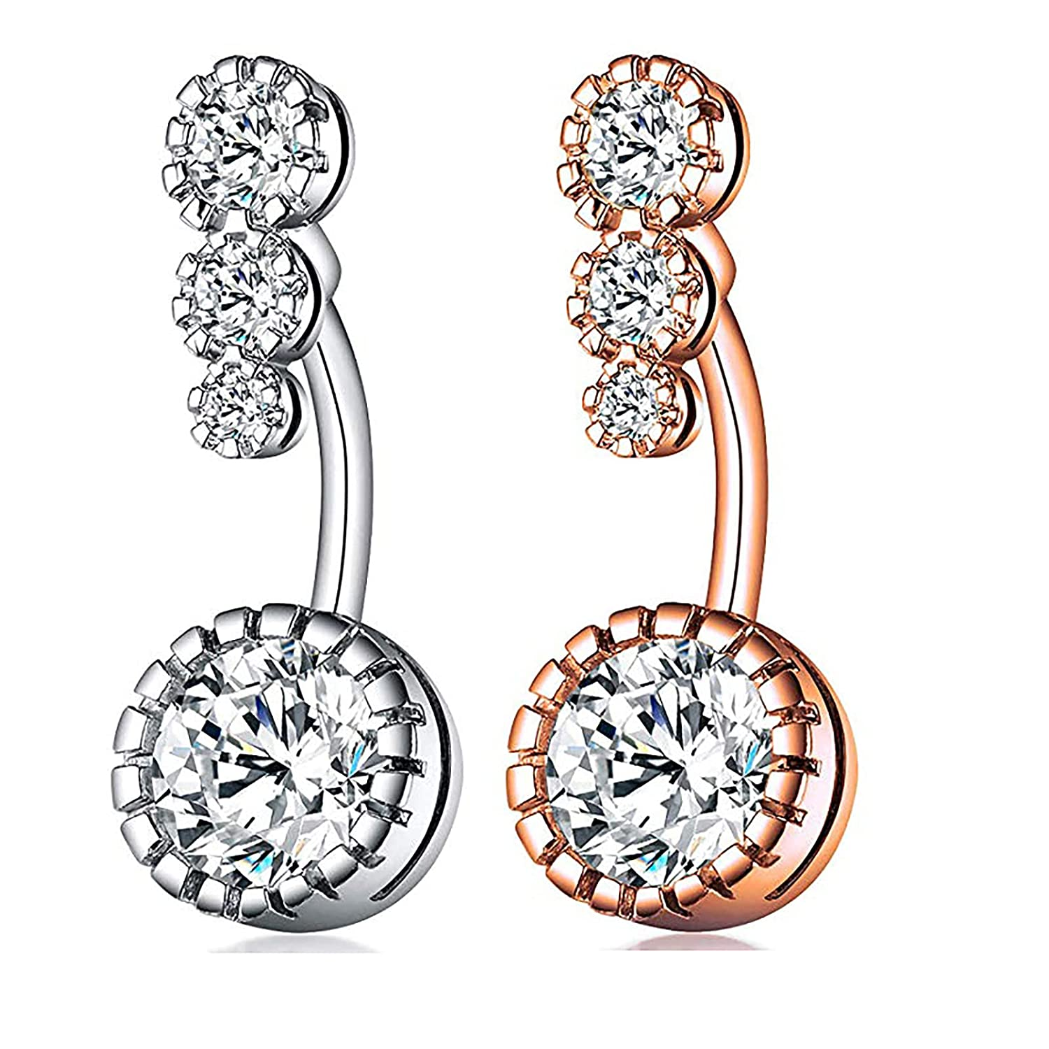 Belly Button Rings for Women Surgical Steel Belly Button Rings Dangle for Girls Pregnancy Belly Button Body Jewelry (BB-R-12)