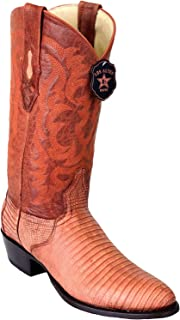 Men's Round Toe Genuine Leather Teju Grasso Lizard Skin Western Boots - Exotic Skin Boots