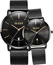 OLEVS Couple Watches Fashion Minimalist His and Hers 6.5mm Ultrathin Quartz Analog Thin Watch 3ATM Waterproof Date with Black Rose Gold Mesh Band Valentine's Romantic Wristwatches Gifts Set of Two