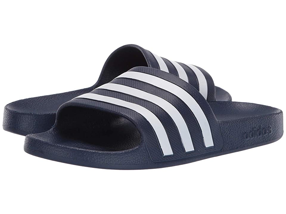 half off f242d b80b9 adidas Adilette Aqua (Dark BlueFootwear WhiteDark Blue) Womens Shoes