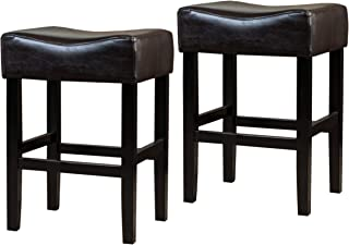 Christopher Knight Home Adler (Set of 2) Brown Leather Backless Counter Stool