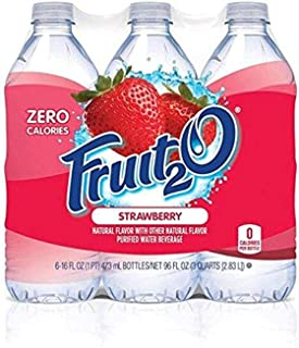 Fruit2O Zero Calorie Flavored Water, Strawberry, 6 Count (Pack of 4)