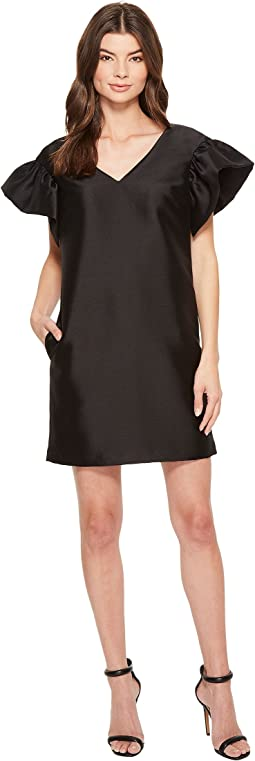 Badgley Mischka - Ruffle Sleeve Twill Sack Dress