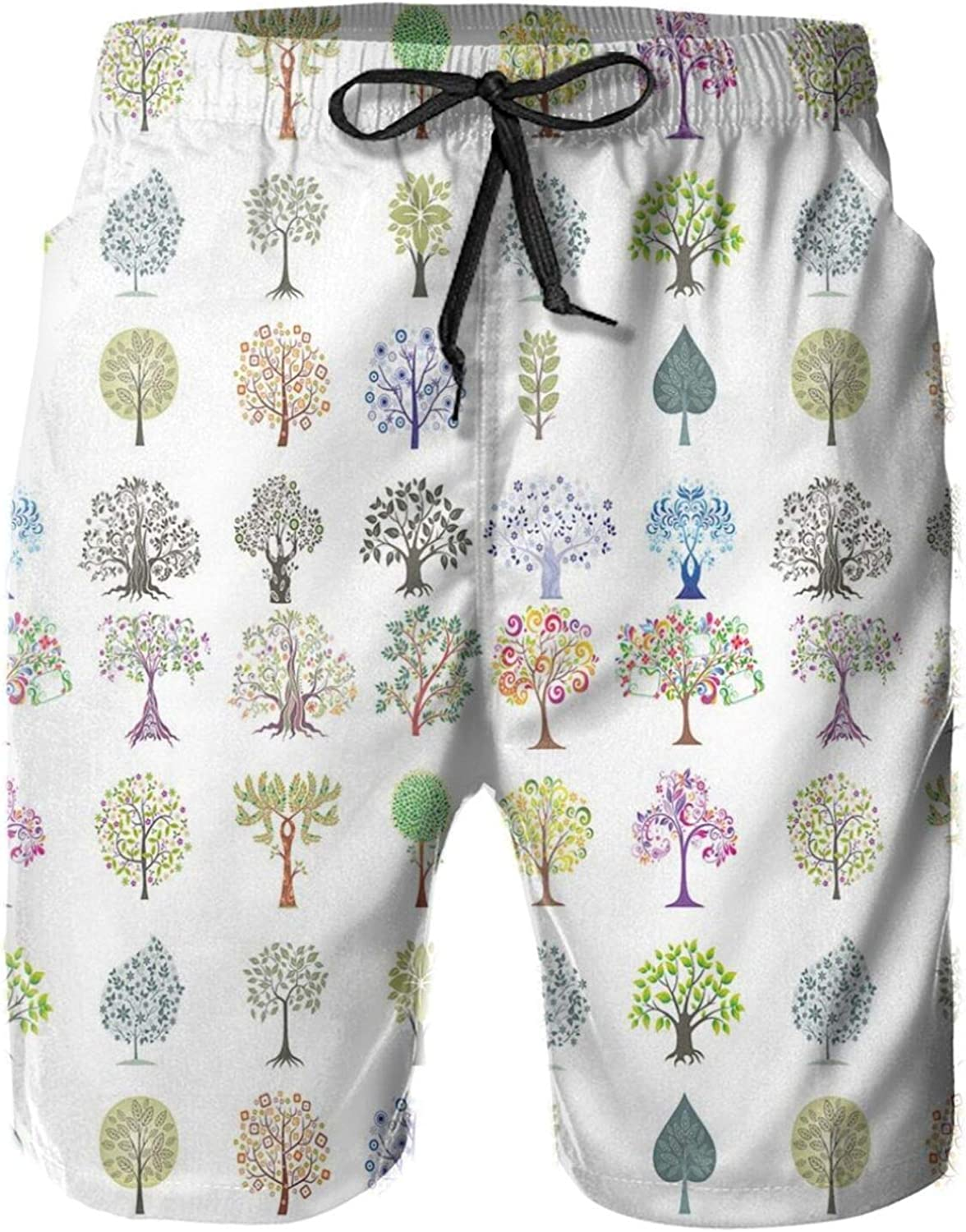 Different Type of Trees with Various Leaf Forms Mother Earth Season Inspirations Eco Printed Beach Shorts for Men Swim Trucks Mesh Lining,XXL