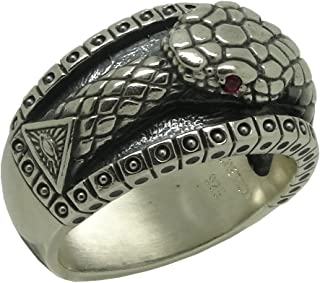 Masonic All Seeing Eye Pyramid Vintage Illuminati Ouroboros Biker Band Sterling Silver 925 Mens Ring, Ruby color stones