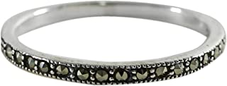 NOVICA Marcasite .925 Sterling Silver Delicate Band Ring 'Glistening Road'