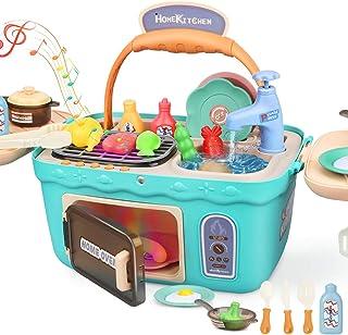 comprar comparacion Dreamon Cocina Juguetes Set para Niñas, Accesorios Cocina con Musica Ligera Niña (Verde)