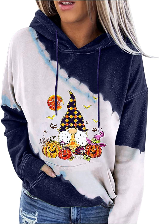 Classic Hemlock Women Special price Hoodies Halloween Pumpkin Tops Colorblock Ho Print