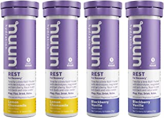 Nuun Rest: Rest and Recovery Drink Tablets, Magnesium Citrate, Tart Cherry, Electrolytes - Lemon Chamomile + Blackberry Va...